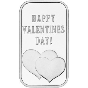 Happy Valentine's Day Hearts 1oz .999 Silver Bar Dated 2015