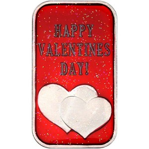 Happy Valentine's Day Hearts 1oz .999 Silver Bar Enameled