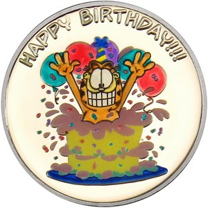 Garfield Happy Birthday 1oz .999 Silver Medallion Enameled