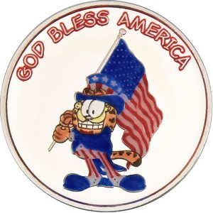 Garfield God Bless America 1oz .999 Silver Medallion Enameled