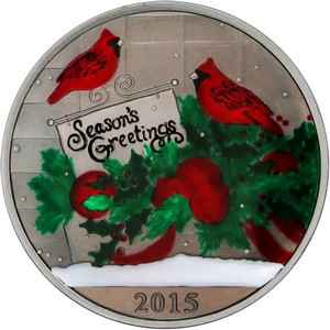 2015 Season's Greetings Cardinals 1oz .999 Silver Medallion Enameled