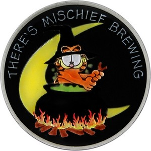 Garfield There's Mischief Brewing 1oz .999 Silver Medallion Enameled