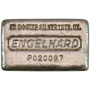 Engelhard Poured 10oz .999 Silver Bar