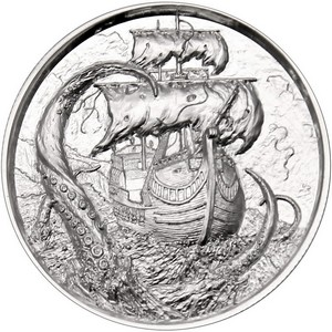 Privateer Kraken Silver 2oz Ultra High Relief Round