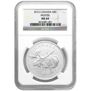 2012 Canadian Silver Moose 1oz MS69 NGC Brown Label
