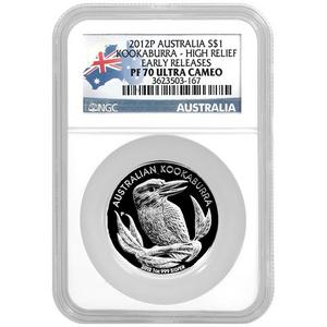 2012 P Australia Silver Kookaburra 1oz High Relief PF70 UC ER NGC Country Label