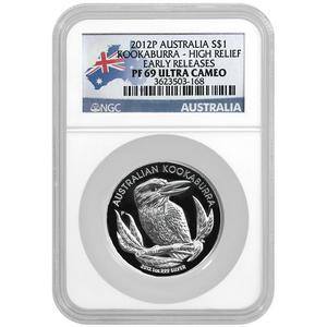 2012 P Australia Silver Kookaburra 1oz High Relief PF69 UC ER NGC Country Label