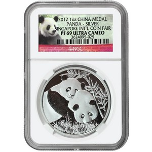 2012 China Silver Panda Singapore Coin Fair Medal 1oz PF69 UC NGC
