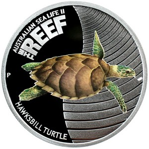 2011 P Australia Silver The Reef Hawksbill Turtle Half Ounce Color PF