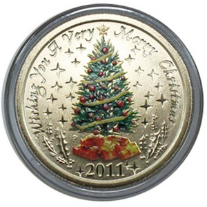 2011 P Australia Christmas Tree Stamp and Aluminum Bronze Coin