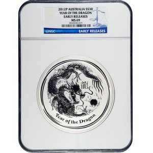 2012 P Australia Silver Year of the Dragon 1kilo MS69 ER NGC Blue Label