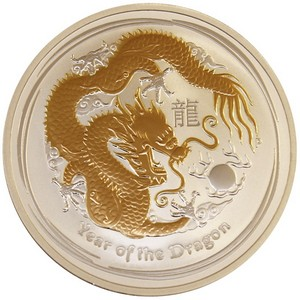 2012 P Australia Silver Year of the Dragon 1oz Gilded