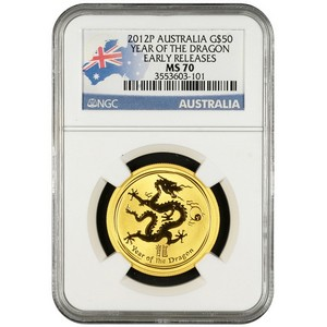 2012 P Australia Gold Year of the Dragon Half Ounce MS70 ER NGC Country Label