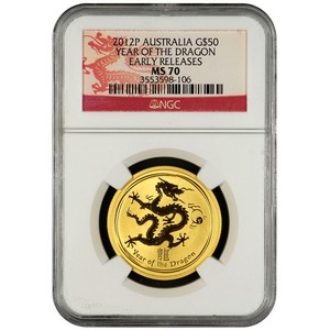 2012 P Australia Gold Year of the Dragon Half Ounce MS70 ER NGC Dragon Label