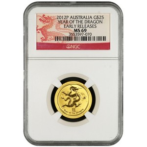 2012 P Australia Gold Year of the Dragon Quarter Ounce MS69 ER NGC Dragon Label