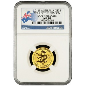 2012 P Australia Gold Year of the Dragon Quarter Ounce MS70 ER NGC Country Label