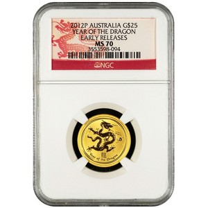 2012 P Australia Gold Year of the Dragon Quarter Ounce MS70 ER NGC Dragon Label