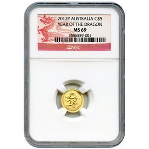 2012 P Australia Gold Year of the Dragon Twentieth Ounce MS69 NGC Dragon Label