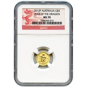 2012 P Australia Gold Year of the Dragon Twentieth Ounce MS70 NGC Dragon Label