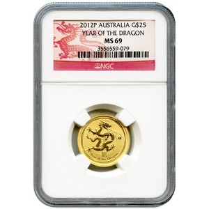 2012 P Australia Gold Year of the Dragon Quarter Ounce MS69 NGC Dragon Label