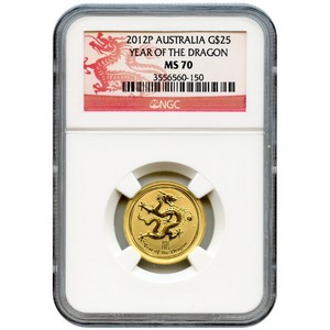 2012 P Australia Gold Year of the Dragon Quarter Ounce MS70 NGC Dragon Label