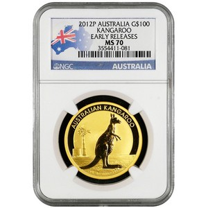 2012 P Australia Gold Kangaroo 1oz MS70 ER NGC Country Label