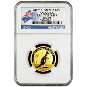 2012 P Australia Gold Kangaroo Half Ounce MS69 ER NGC Country Label