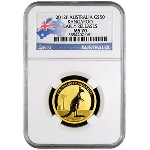 2012 P Australia Gold Kangaroo Half Ounce MS70 ER NGC Country Label