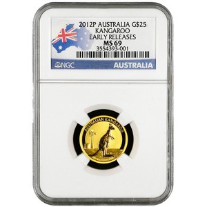 2012 P Australia Gold Kangaroo Quarter Ounce MS69 ER NGC Country Label