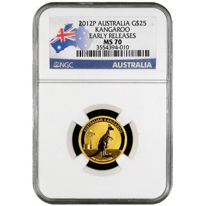 2012 P Australia Gold Kangaroo Quarter Ounce MS70 ER NGC Country Label