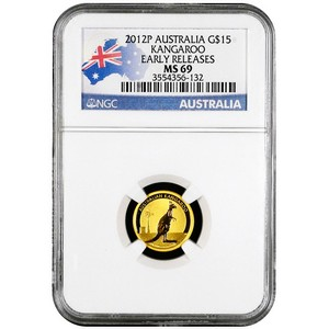 2012 P Australia Gold Kangaroo Tenth Ounce MS69 ER NGC Country Label