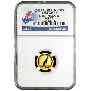 2012 P Australia Gold Kangaroo Tenth Ounce MS70 ER NGC Country Label