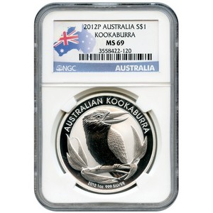 2012 P Australia Silver Kookaburra 1oz MS69 NGC Country Label