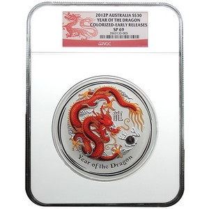 2012 P Australia Silver Year of the Dragon Gem Eyed 1kilo SP69 ER NGC