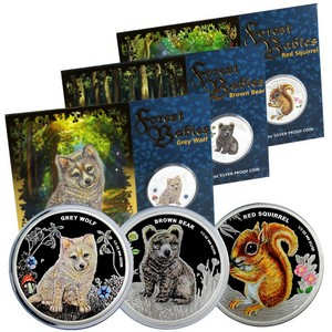 2013 P Australia Silver Forest Babies Half Ounce 3 Coin Colorized Set