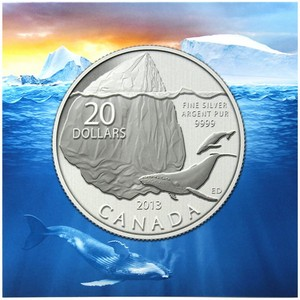 2013 Canada Silver Iceberg and Whale Quarter Ounce BU