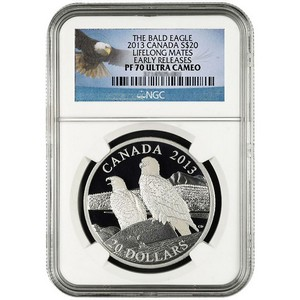 2013 Canada Silver Bald Eagle Lifelong Mates 1oz PF70 UC ER NGC Bald Eagle Label