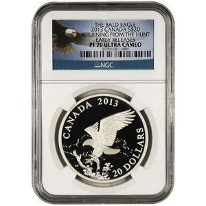 2013 Canada Silver Bald Eagle Returning from the Hunt 1oz PF70 UC ER NGC Bald Eagle Label