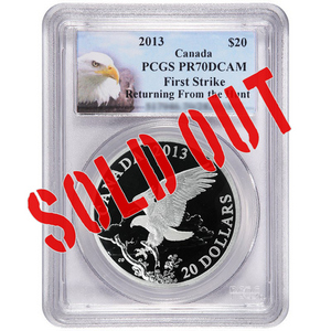 2013 Canada Silver Bald Eagle Returning from the Hunt 1oz PR70 DCAM FS PCGS Bald Eagle Label
