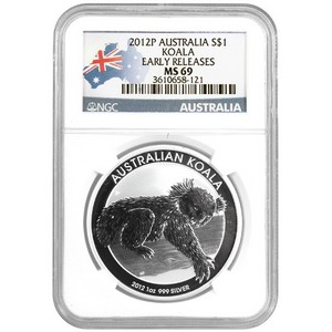 2012 P Australia Silver Koala 1oz MS69 ER NGC Country Label