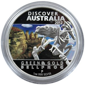 2012 P Australia Silver Discover Australia Green and Gold Bell Frog 1oz Proof