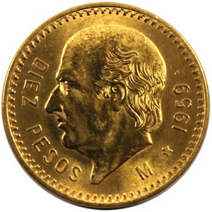 Mexico Gold 10 Pesos Dates Our Choice UNC