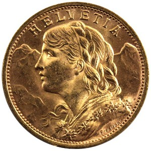 Switzerland Helvetia Vreneli Gold 20 Franc Date Our Choice UNC
