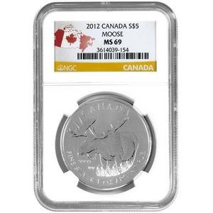 2012 Canadian Silver Moose 1oz MS69 NGC Country Label