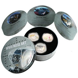2012 New Zealand Silver WWII Nose Art 3pc Set 1oz Proof