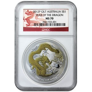 2012 P Australia Silver Year of the Dragon 1oz Gilded MS70 NGC Dragon Label