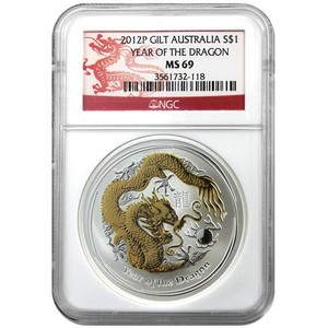2012 P Australia Silver Year of the Dragon 1oz Gilded MS69 NGC Dragon Label