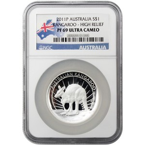 2011 P Australia Silver Kangaroo 1oz PF69 High Relief UC NGC Country Label
