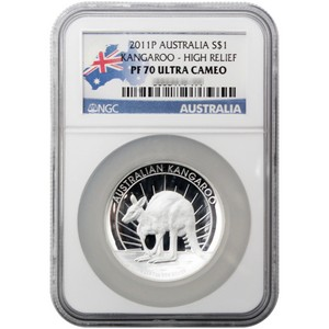 2011 P Australia Silver Kangaroo 1oz PF70 High Relief UC NGC Country Label