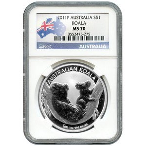 2011 P Australia Silver Koala 1oz MS70 NGC Country Label